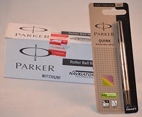 Parker Quink Recharge pour Roller Pointe moyenne encre Noir-Navigator technologie (Lot de 10)