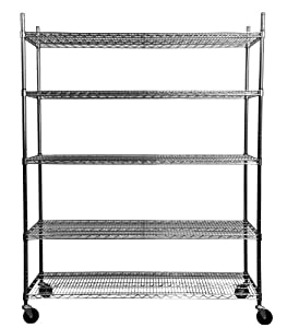 trinity 5 tier nsf heavy duty x large wire shelving rack with wheels 60 by 24 by. Black Bedroom Furniture Sets. Home Design Ideas