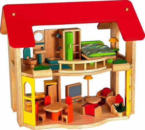 Voila Puppenhaus aus Holz, mit Möbeln