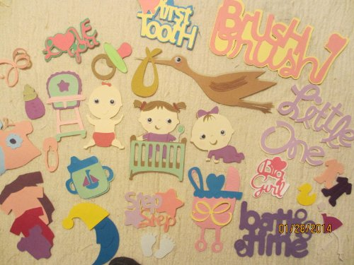 50 Completed Baby Girl Scrapbook Die Cuts, Create Your Own Pages See Details