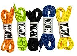 Demoda Flat Shoelaces(Pack of 5-Orange,Neon green,Black,Blue,Yellow)