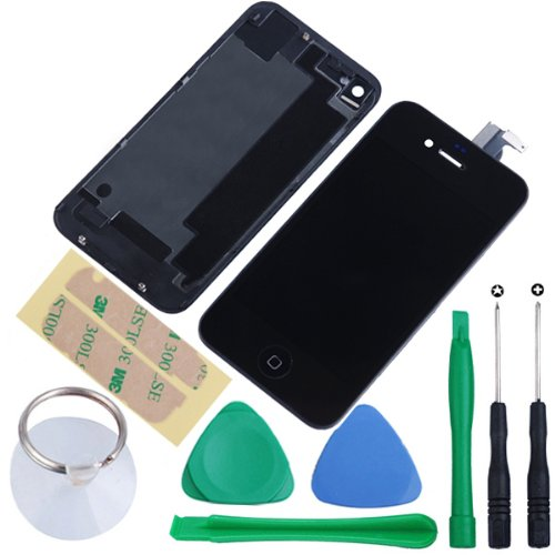 Replacement Full Set Front LCD Display & Touch Screen Digitizer Assembly With Home Button + Back Cover Housing + 8pcs Repair Opening Tools Kit Compatible For Verizon/Sprint iPhone 4 CDMA - Black (Black Iphone 4 Front Glass compare prices)