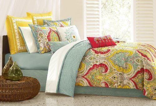 New Queen Set Bed Bedding Sheet Comforter Thread Count Colors Jaipur Free Ship front-1065316