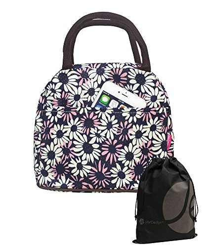 JAVOedge Blue and White Fabric Diasy Pattern Lunch Bag Tote with Zipper and Handle + Bonus Drawstring Bag