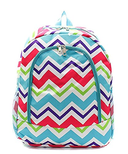 Children's School Backpack (Multi Chevron Aqua)