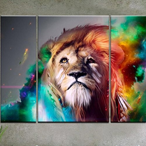 RAIN QUEEN Modern Abstract Art Colorful Lion Oil Paintings on Canvas Wall Art for Home Decoration Huge Size No Frame 3pcs (Art Paintings compare prices)
