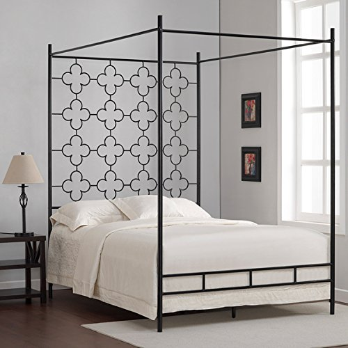 Metal Canopy Bed Frame Full Sized Adult Kids Princess Bedroom Furniture * Black Wrought Iron Style Vintage Antique Look * Hang Shear Curtains or Mosquito Nets * Bedding Pillow Not Included (Full) 2
