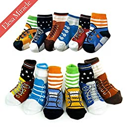 Elesa Miracle Non-skid Baby Boy Toddler Shoe Socks, 6 Pairs, Anti Slip, for 12 - 24 Months