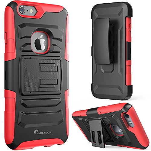 iPhone 6s Case ,i-Blason Prime [Kickstand] Also Fit Apple iPhone 6 Case (4.7) Dual Layer Holster Cover with [Locking Belt Swivel Clip] (Red)