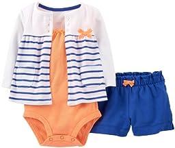 Carter\'s 3 Piece Cardigan Shorts Set (Baby) - Blue-18 Months