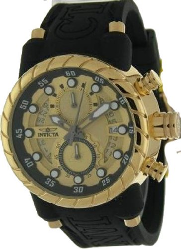Invicta Men's 14186 S1 Rally Chronograph Gold Dial Black Silicone Watch