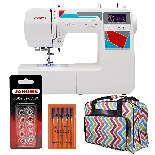 Janome MOD-100 Computerized Sewing Machine with 100 Built-In Stitches, 7 One-Step Buttonholes, Drop Feed & Bonus Tote Bag, Needle Set & 10 Pack of Bobbins (Janome 100 Sewing Machine compare prices)