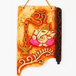 Fathers day Gifts Wall Hanging - Orange Ganesha Hanging