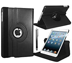 Apple iPad Mini Leather Smart Case with 360° Rotating Swivel Action for Portrait and Landscape Orientation with Free Screen Protector and Stylus Touch Pen by Stuff4®