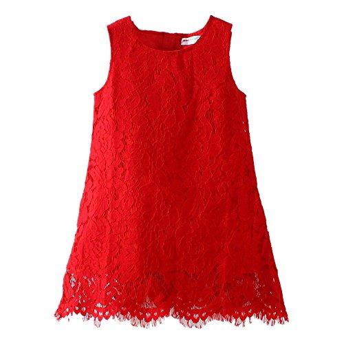 LittleSpring Little Girls' Dress Christmas Sleeveless, Red, 4T