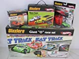 "Hot Wheels Sizzlers Giant O Race Track Set Bundle. Bundle includes 2 Extra Cars & 2 Extra Chargers & Race Case. The Hotwheels Sizzler track set includes 1 sizzler car and 1 Juice Machine charger. In addtion you get: 1 Mad Scatter set which includes 1 green Spoil Sport Sizzler car & one Goose Pump Recharger. Plus 1 new Live Wire Sizzler Car, 1 Juice Machine charger & 1 Sizzler Race Case that will hold one Juice Machine charger and up to 4 Sizzlers Cars. In total you will have 3 Sizzlers Cars & 3 Rechargers. Juice Machine chargers requires 4 ""D"" batteries and Goose Pump rechargers requires 2 ""D"" batteries (Not Included). Track is compatable with Disney Pixar Cars Charge Ups and Hot Wheels X-V Racers cars."