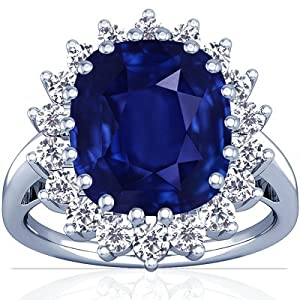 18K White Gold Cushion Cut Blue Sapphire Ring With Sidestones