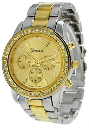 Geneva Platinum Women's TwoTone Quartz Watch Gold Dial Chronograph Look2Tone Picture
