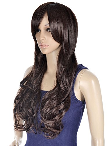 blow dryer brush Simplicity High Quality Long Curly Full Wig in Dark Brown, Wavy Party Wigs