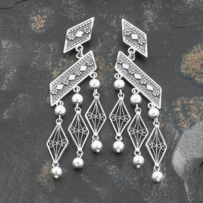 Ethnic Trazpezoid Shaped Dangling Earrings