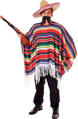 Multicoloured Stripes Hawaiian Fancy Party Stag Costume Mexican Poncho Outfit