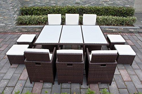 NORDLAND-Gartenmbel-Set-NARVIK-Braunw-Polyrattan-fr-64-Personen-inkl-weier-Glasplatten-Schutzabdeckung-Aluminiumgestell-und-allen-Sitzkissen-Polstern-1-Tisch-6-Stuhl-4-Hocker