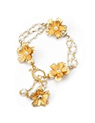 Aarya 24kt Gold Foil Flower Bracelet With Pearl