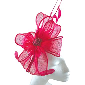 Sinamay & Feathers Fuchsia Structured Fascinator Headband