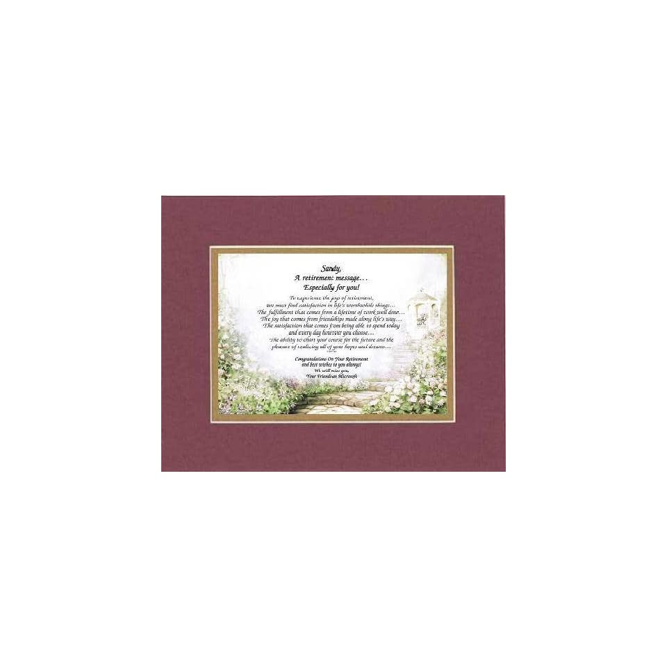 [Personalized Poem for Retirement] A Retirement Message Especially For You . . .Poem on 11 x 14 inches Double Beveled Matting (Burgundy)