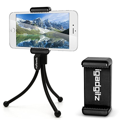iGadgitz-Black-Flexible-Mini-Table-Top-Tripod-with-Pocket-Clip-Premium-Smartphone-Holder-Mount-Bracket-Adapter-for-Apple-iPhone-SE-6-6S-47-5-5C-5S-4HD-4S