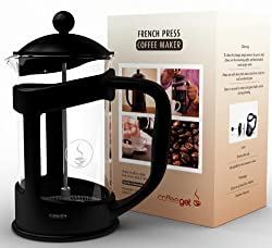CoffeeGet 6 Cup French Press Coffee Maker, Extra thick Heat Resistant Glass - 27 Ounce French Press Makes Coffee For 2-3 People In Just 4 Minutes - Commercial Grade Stainless Steel Press - This French Press Coffee Maker Comes With A Lifetime Guarantee!