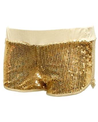 Amazon.com: Ladies Gold Shiny Sequin Shorts: Adult Exotic Boxer Shorts