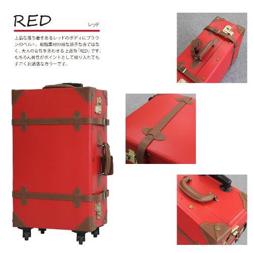 (PORTA)1320-M PVCクラシックスタイルスーツケース Mサイズ 中型 TSAロック搭載 (RED)