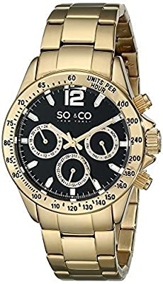 SO&CO New York Men's luminous Quartz Day and Date Stainless Steel Gold Tone Bracelet Monticello Watch Collection