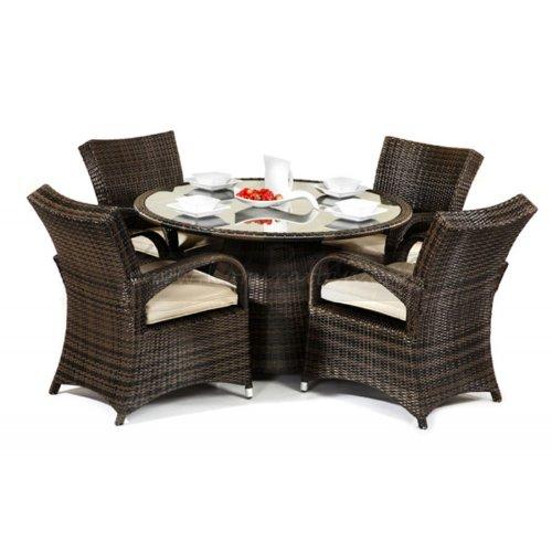 72949c0c36c9 Best Price Maze Rattan Texas Round 4 Seater Dining Set - Garden ...
