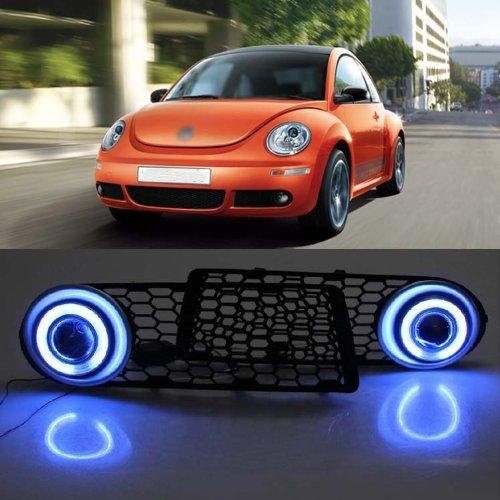 Auptech Innovative Super Ccfl Angel Eye Fog Light Drl Exact-Fit Fog Bumper Cover With Projector Lens For 2008-2011 Volkswagen Beetle