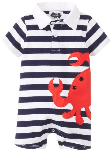 Mud Pie Baby-Boys Newborn Crab Polo One Piece, Blue/Red, 6-9 Months front-953111