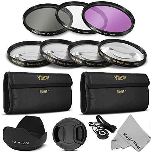 55Mm Professional Lens Filter And Close-Up Macro Accessory Kit For Sony Alpha Series A99 A77 A65 A58 A57 A55 A390 A100 Dslr Cameras With A 18-55Mm Zoom Lens - Includes: Vivitar Filter Kit (Uv, Cpl, Fld) + Carry Pouch Tulip Lens Hood + Center Pinch Lens Ca