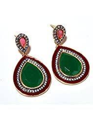 Earring Set Gemstone AD Emerald One Gram Gold Plated CZ New Bollywood Real Diamond Look Beauty Natural Jhumka