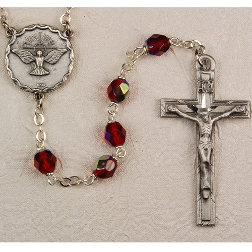 6mm Silver & Red Holy Spirit Rosary, Boxed, Great for Confirmation or RCIA.
