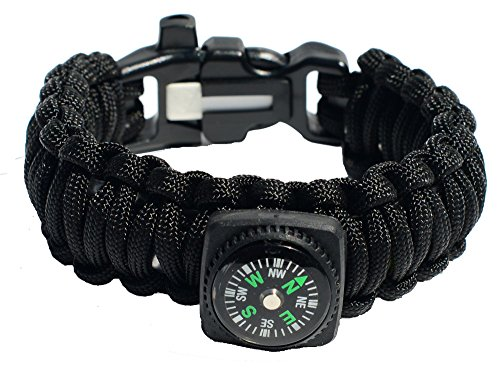 18 Piece Paracord Survival Bracelet with Compass, Firesteel & Tinder, Fishing Gear, Whistle, Safety Pins, Ceramic Knife & More Inside – 100% Handmade! High Quality – No Hassle Money Back Guarantee!