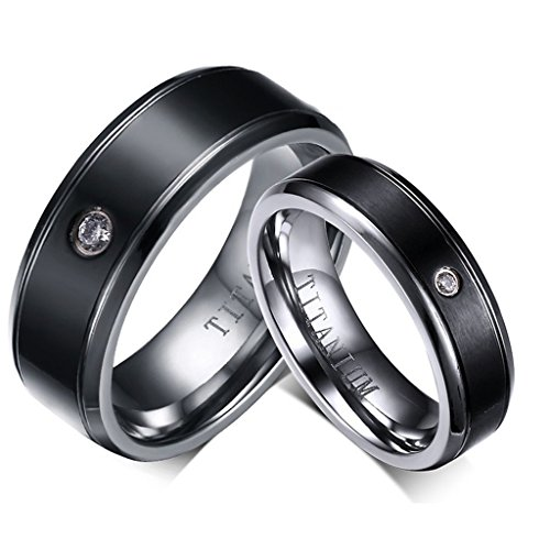 ROWAG 9MM Black Cubic Zirconia Men Titanium Stainless Steel Couple Wedding Bands for Him and Her 6MM Women Promise Engagement Rings