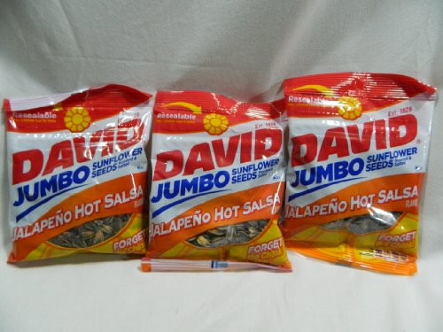 Pack Of 3 David Jumbo Sunflower Seeds Roasted & Salted Jalapeno Hot Salsa
