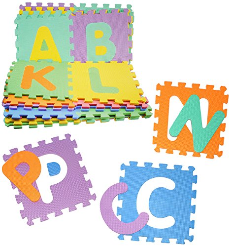 XL Set: Puzzle Teppich aus Mossgummi - 26 Matten & Buchstaben ABC A-Z - zum puzzeln / Puzzleteppich EVA - Spieleteppich Puzzlematte - Spielmatte Kinderteppich - Bodenmatte - Matte / Spielteppich - für Kinder - Puzzleteppich - Kinderspielteppich / Lernteppich - Schaumstoff / Bodenschutzmatte - Alphabet / Buchstabe lesen lernen