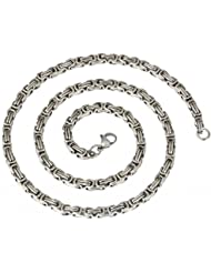 The Jewelbox Mens Stainless Steel Rhodium Plated 3D Byzantine Chain 21""
