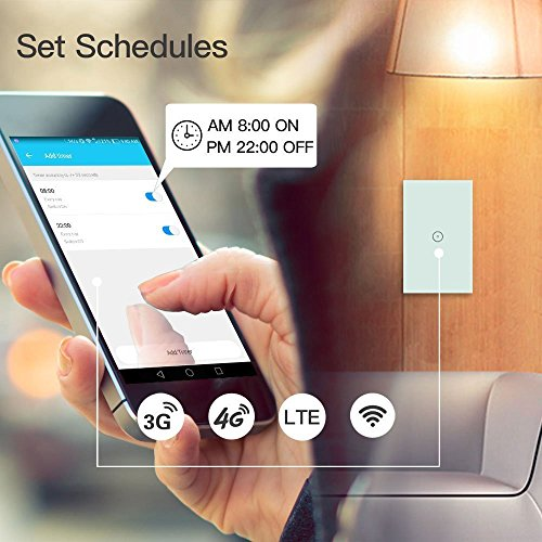 Smart Wifi Light Switch, Touch Wall Switch Panel, Works with Amazon Alexa, Remote Control Fixtures from Anywhere via Smartphone or Tablet, No Hub Required
