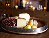 "Wine Barrel Head Lazy Susan Turn Table, Handcrafted From Reclaimed Wine Barrel, 24""W x 3""H"