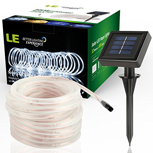 AwardWiki - Le 33Ft 100 Led Solar Rope Lights, Waterproof Outdoor Rope Lights, 6000K Daylight ...