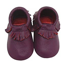 Sayoyo Baby Purple Tassels Sole Leather Baby Shoes Baby Moccasins(9.5 M US Toddler,Purple)