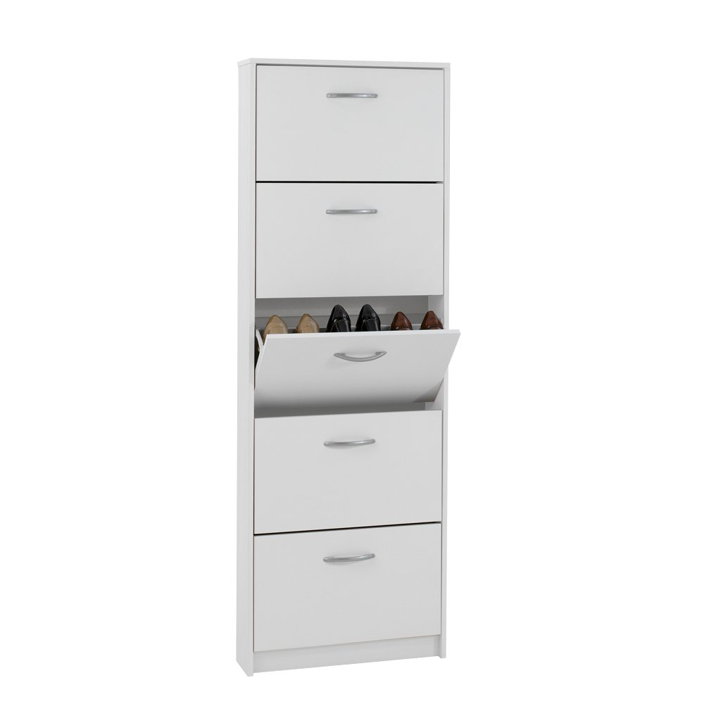 FMD Shoe Cabinet Step 5, 58.5 x 168.5 x 17 cm, White       Customer reviews and more description
